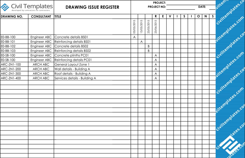 Drawing Issue Register (xls)  Daily Diary Template