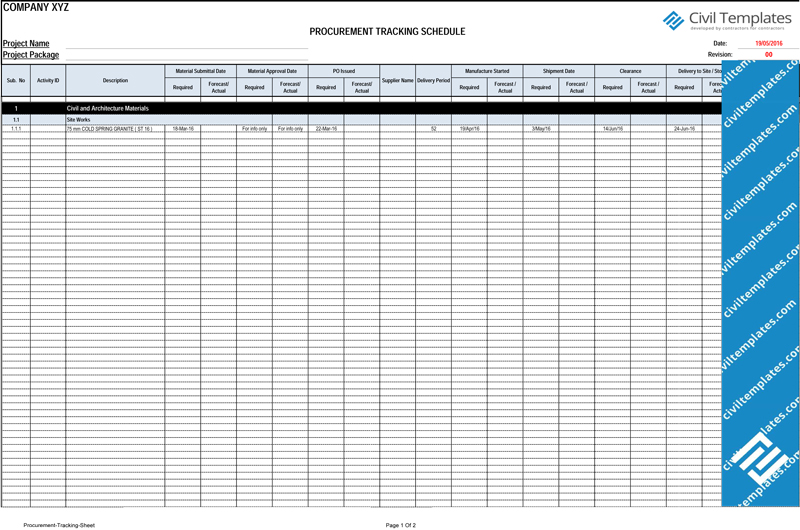 procurement tracking spreadsheet