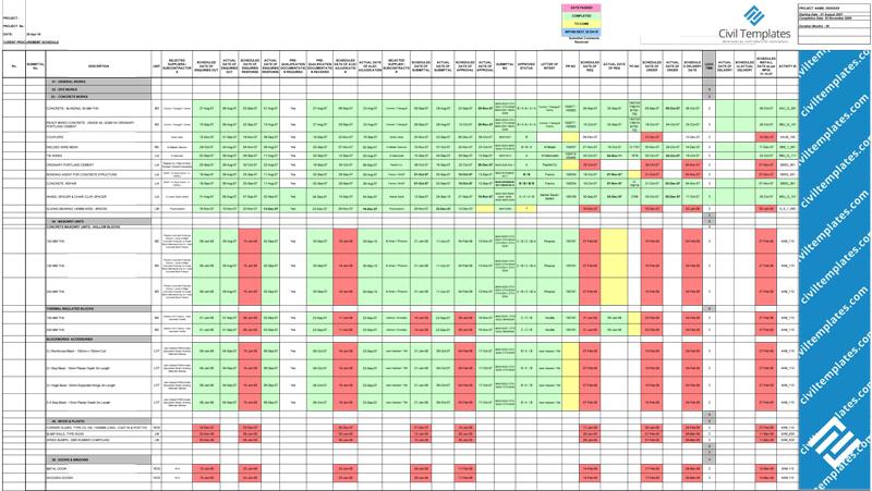 procurement tracking spreadsheet