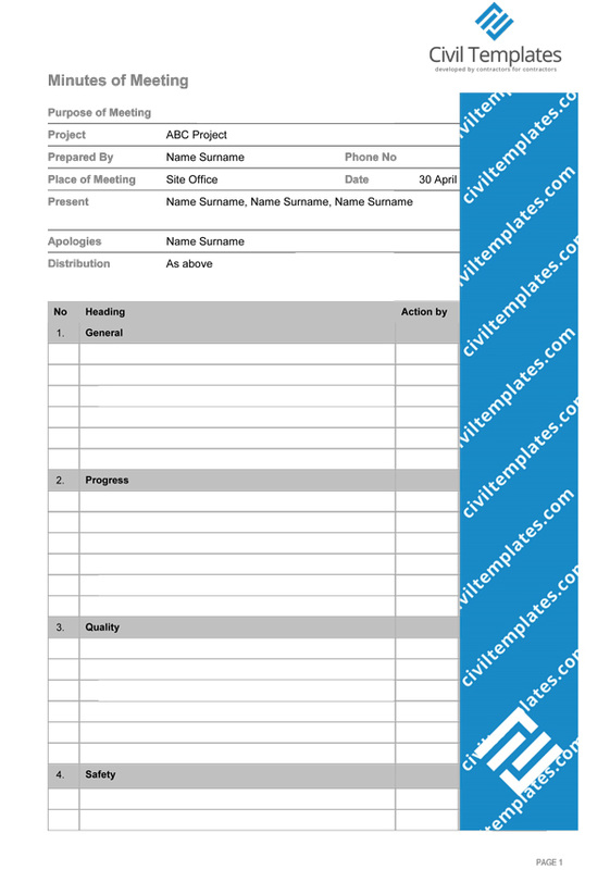 Project Management Document Templates - Civil Engineering Templates