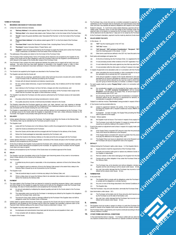 Procurement civil engineering templates for Vendor terms and conditions template